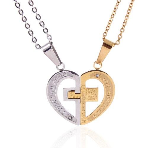 heart pendant lovers couple necklace titanium steel heart