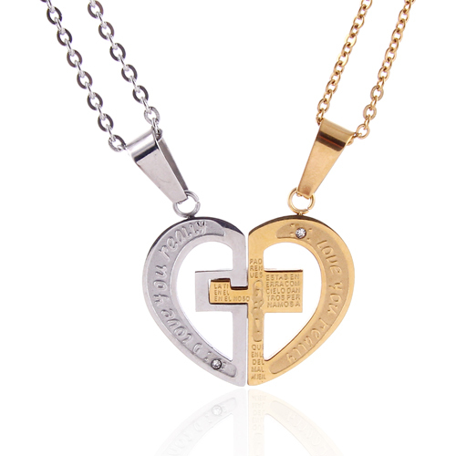 Heart Pendant Lovers Couple Necklace Titanium Steel Heart Cross Pendant Jewelry Best Friends necklace girlfriend gifts .NL-2479