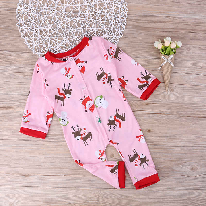 Family Matching Clothing Outfits Winter Christmas Cartoon Print Baby Rompers Long Sleeve Jumpsuit Infant Pajamas Home Clothes