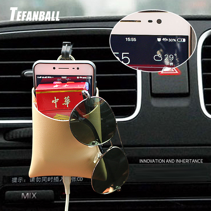 New Arrival Car Outlet Vent Tidy Storage Box With Charging Hole PU Leather Coin Bag Case Pocket Organizer Hanging Holder Pouch-in Stowing Tidying from Automobiles & Motorcycles