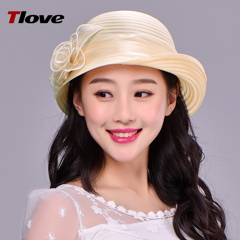 Female Summer Sun Hat Aristocratic Ogan Yarn Berley-basin Cap Lady Breathable Sunscreen  ...