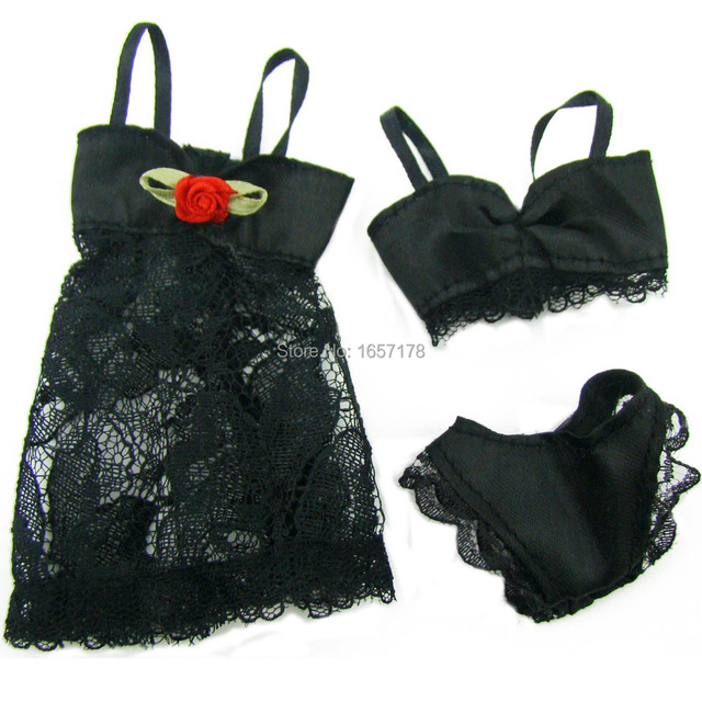 Lot 18Pcs = 6 Sets Colorful Sexy Pajamas Lingerie Nightwear Lace Night Dress + Bra + Underwear Clothes For Barbie Doll