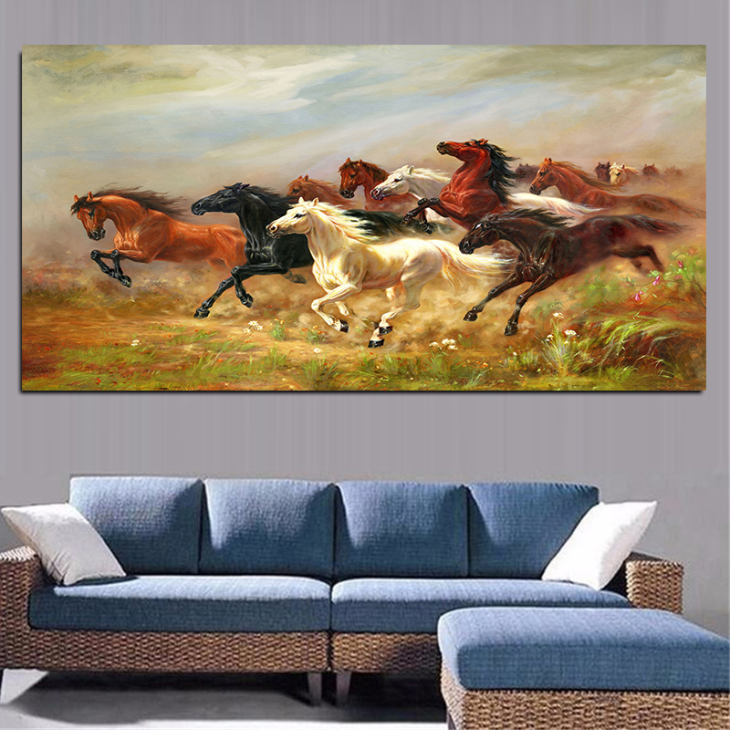 A Group Of Colorful Running Horse Animals Painting Artistic Canvas Posters And Prints Modern Wall Art Picture For Living Room