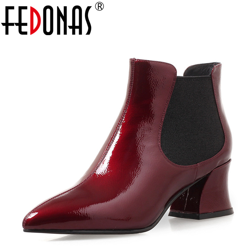 FEDONAS 1Fashion Women Ankle Boots Genuine Leather Autumn Winter Warm High Heels Shoes Woman Pointed Toe Quality Martin Boots fedonas 1fashion women ankle boots autumn winter warm high heels shoes woman round toe cross tied genuine leather martin boots