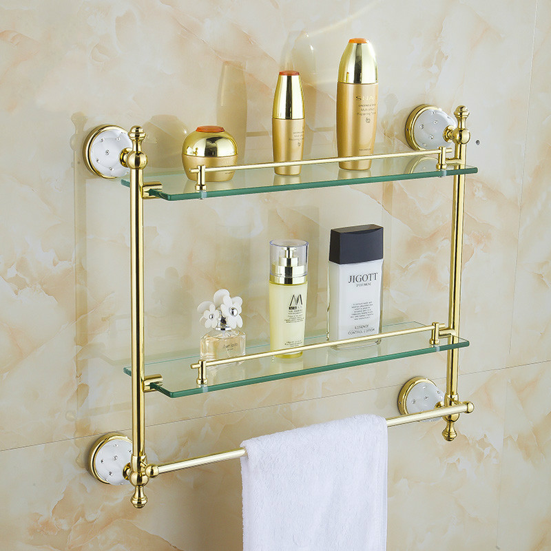 купить Wall Mounted Bathroom Accessories Solid Brass Golden Finish With Tempered Glass,double Layer Glass Shelf  Bathroom Shelf недорого