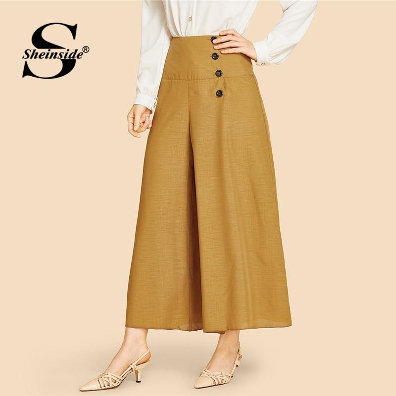 Sheinside Brown Wide Waistband Single Breasted Pants Women 2019 Spring Mid Waist Wide Leg Pants Ladies Elegant Solid Crop Pants