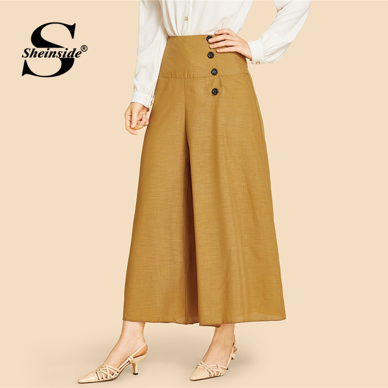 Sheinside Brown   Wide   Waistband Single Breasted   Pants   Women 2019 Spring Mid Waist   Wide     Leg     Pants   Ladies Elegant Solid Crop   Pants