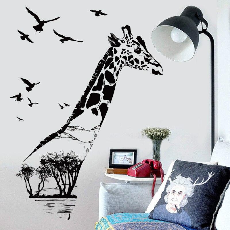creative black giraffe wall sticker diy mural wall art 3d stickers