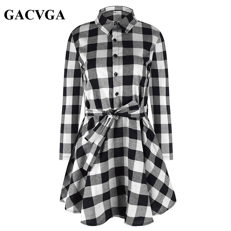 GACVGA New Spring Autumn Dress Women Plaid