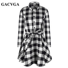 GACVGA New Spring Autumn Dress Women Plaid Turn-down Collar Cotton Vestidos Casual Tunic Shirt Dresses Office Dress