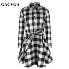 Gacvga Новый Демисезонный Платье Женщины Plaid отложной воротник хлопок Vestidos Повседневная Туника Платья деловая модельная одежда