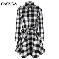New Autumn Dress Women Plaid Turn Down Collar Cotton Vestidos Casual Tunic Shirt Dresses Office Dress
