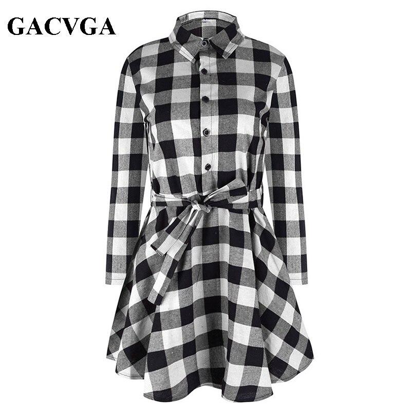 Gacvga Новый Демисезонный платье Для женщин плед отложной воротник хлопок Vestidos Повседневное туника рубашка Платья для женщин деловая модельная одежда