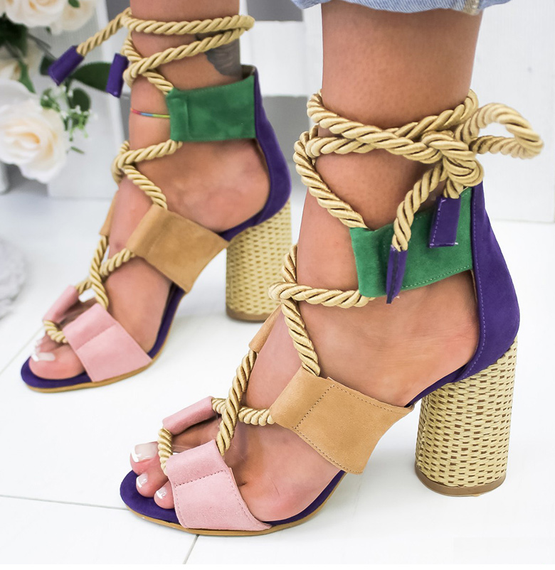 HTB1CWGVaR1D3KVjSZFyq6zuFpXaz Women Sandals 2019 Women Heels Shoes For Gladiator Sandals Women High Heels Summer Shoes Woman Lace Up Peep Toe Chaussures Femme