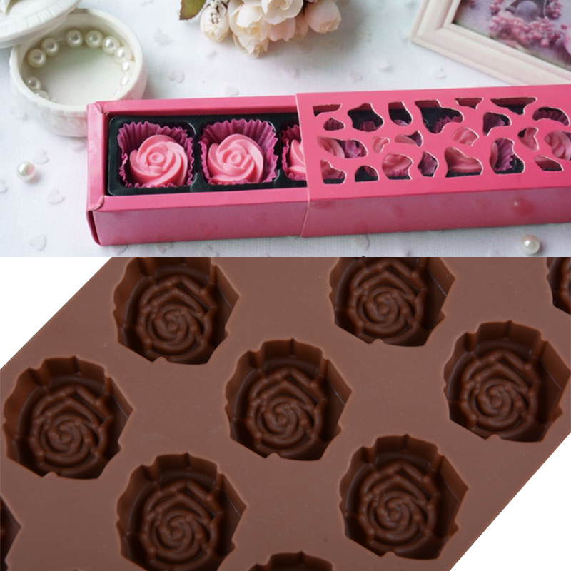 1PCS Silicone 15 Rose Flower Shape Chocolate Mold For Candy Fondant Ice Cube Tray DIY Baking Brithday Party Cake Decorating Tool