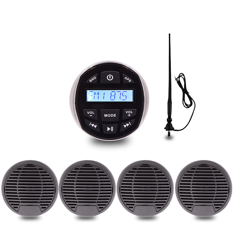 Морской Стерео Лодка аудио Bluetooth Радио FM AM USB MP3 плеер для мото Авто ATV UTV 3 дюйма Водонепроницаемый Динамик radio Antenna