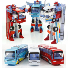 New Style Poly Alloy deformed bus Robot Transformation Bus Car Toys Deformation Police For Kids children