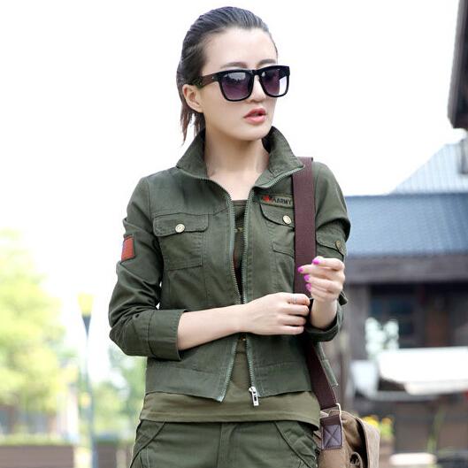 las mujeres chaqueta militar verde del ejrcito chaquetas verdes bandera insignia emebllished seoras