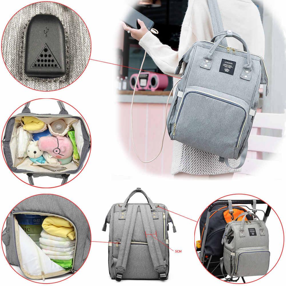 LEQUEEN torby na pieluchy USB mumia torba na pieluchy macierzyńskie duże dziecko torba wodoodporne plecaki podróżne projektant torby pielęgnacyjne na opieka nad dzieckiem