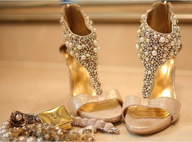 Gold Wedding Shoes Star Champagne Color Bride Wedding Shoes Rhinestone Pearl Stiletto Platform Sandals Wedding Shoes