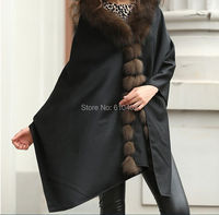 free shipping/100% Real Cashmere Real Fox Fur Poncho/Scarf /cloak /Coat/cape//Wraps/Shawl/Black