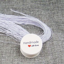 1000 pcs handmade with love tag+1000pcs white elastic string for cookies/wedding faovs /box gift decoration hang tag