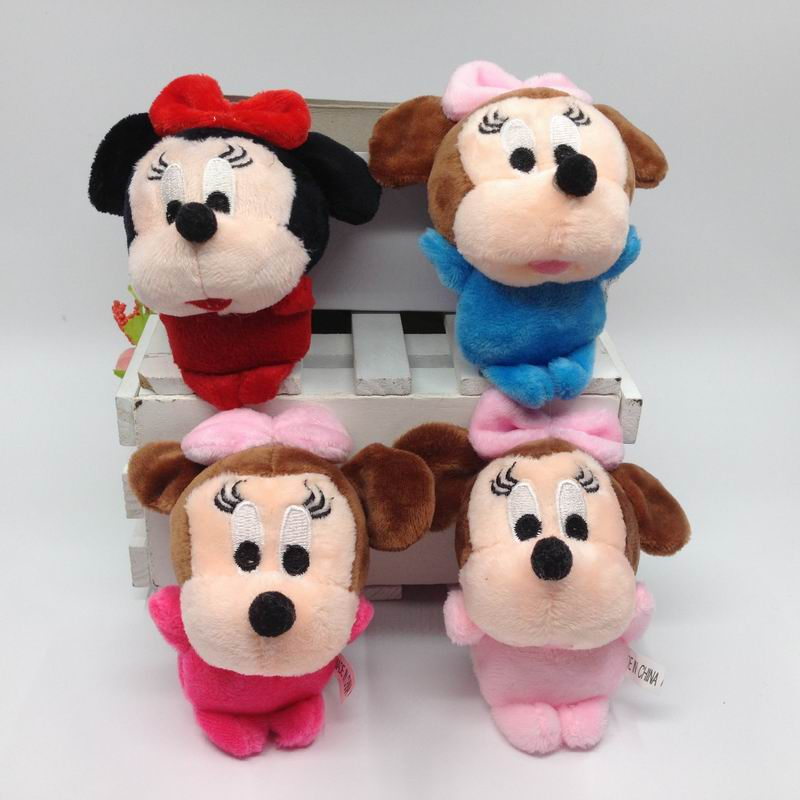 10cm 4 x 24pcs Cute Plush Mickey With Bow Key ring Stuffed Dolls Soft toys Bag