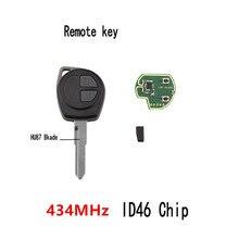 Car Remote Key Fit for SUZUKI SWIFT SX4 ALTO VITARA IGNIS JIMNY Splash 434MHz ID46 Chip [5pcs lot] id46 chip for cbay handy baby car key copy jmd handy baby auto key programmer id46 chip free shipping