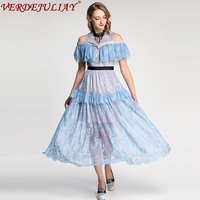 Cute Dresses 2018 Spring Women Runway Fashion Lace Flowers Embroidery Off the Shoulder Patchwork Long Black / Light Blue Dress
