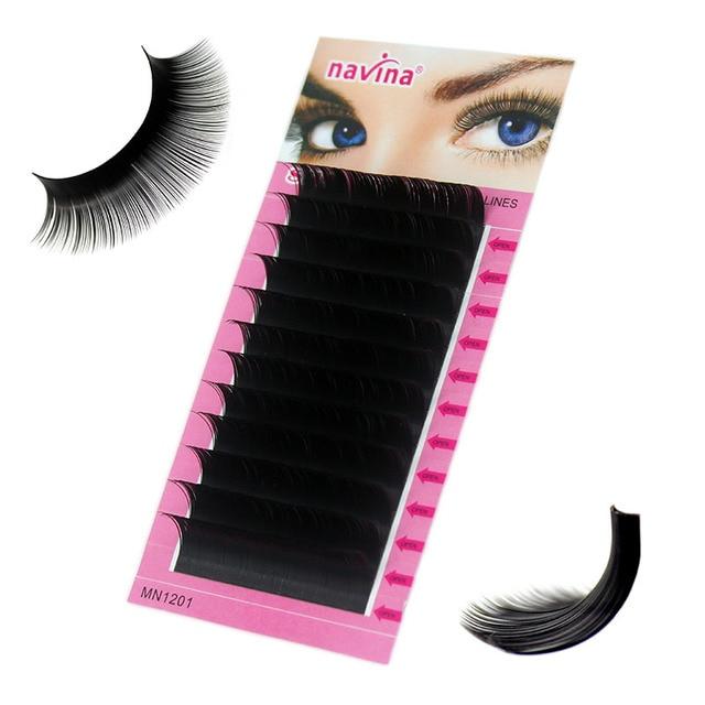 Navina 1pc Natural Faux Silk Eyelash Extension Russian Volume 3D Individual Mink Eyelashes Makeup False Soft Lashes Fake Cilias