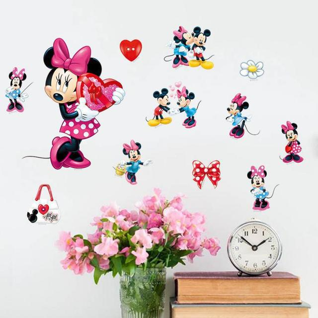 New Products Mickey Minnie Mouse Art Vinyl Diy Wall Stickers Home Kids Room Decor Border Tiles