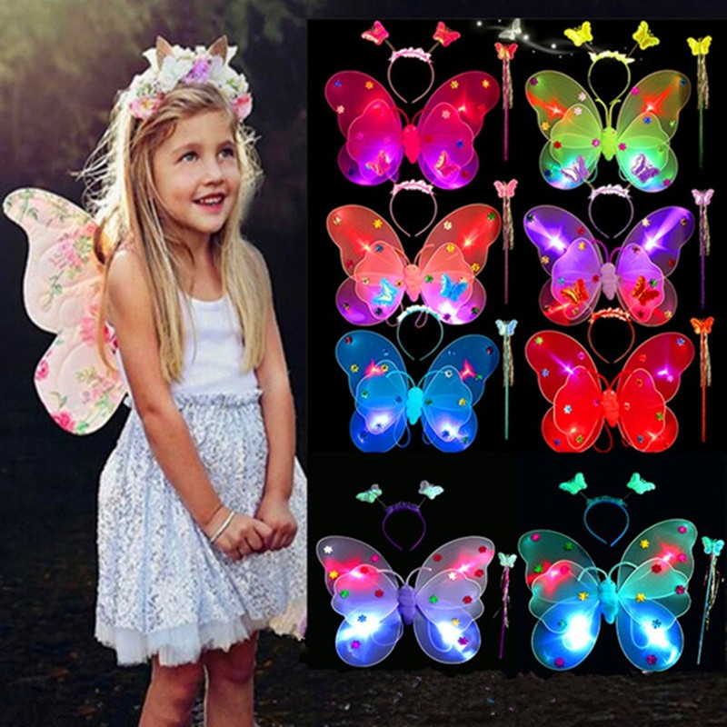 3pcs/Set Girls Led Flashing Light Fairy Butterfly Wing Wand Headband Costume Toy christmas Gift Party Clothes halloween butterfly wings head band wand white 3 piece set