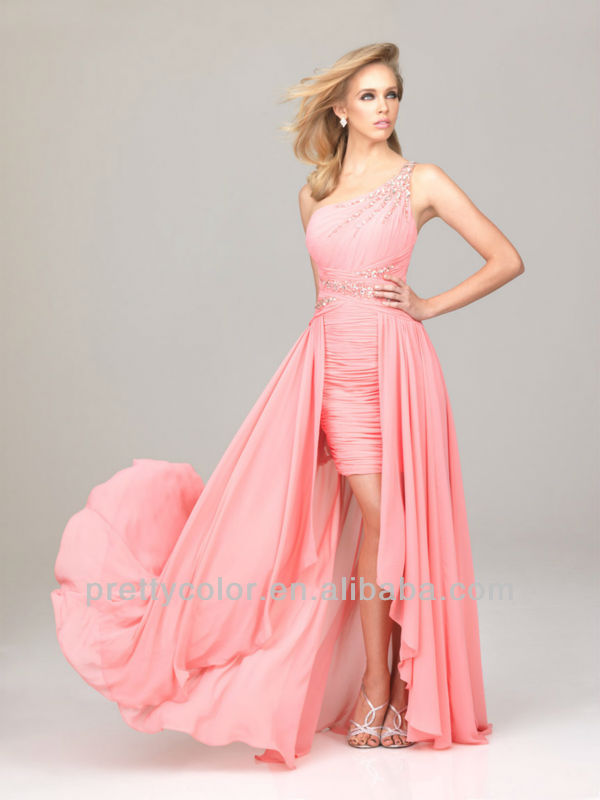 Pink Fuchsia Black Casual Style One Shoulder Chiffon Party Gowns