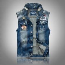 Sleeveless jeans weste männer jacken stickerei charakter herren denim motorrad weste vintage männer jean weste loch 3xl, PA074