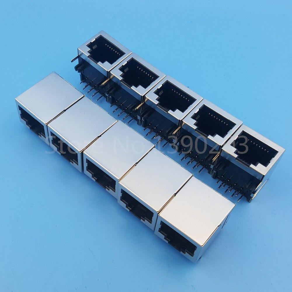 ᗚ50 unids RJ45 red Ethernet 8P8C hembra 8Pin Dip de montaje en PCB ...