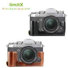 Étui en cuir Pu Version douverture inférieure Base de protection demi corps pour appareil photo numérique Fujifilm X T3 XT3