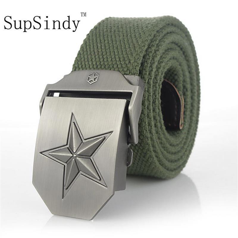 SupSindy cinturón de lona correa de lujo hombres famosos marca militar cinturón cinturones tridimensional estrella de cinco puntas verde del ejército 120 cm