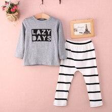 Детские 2 шт. комплект одежды! малыш мальчик девушки письмо печатные с длинным рукавом + полосатый длинные брюки