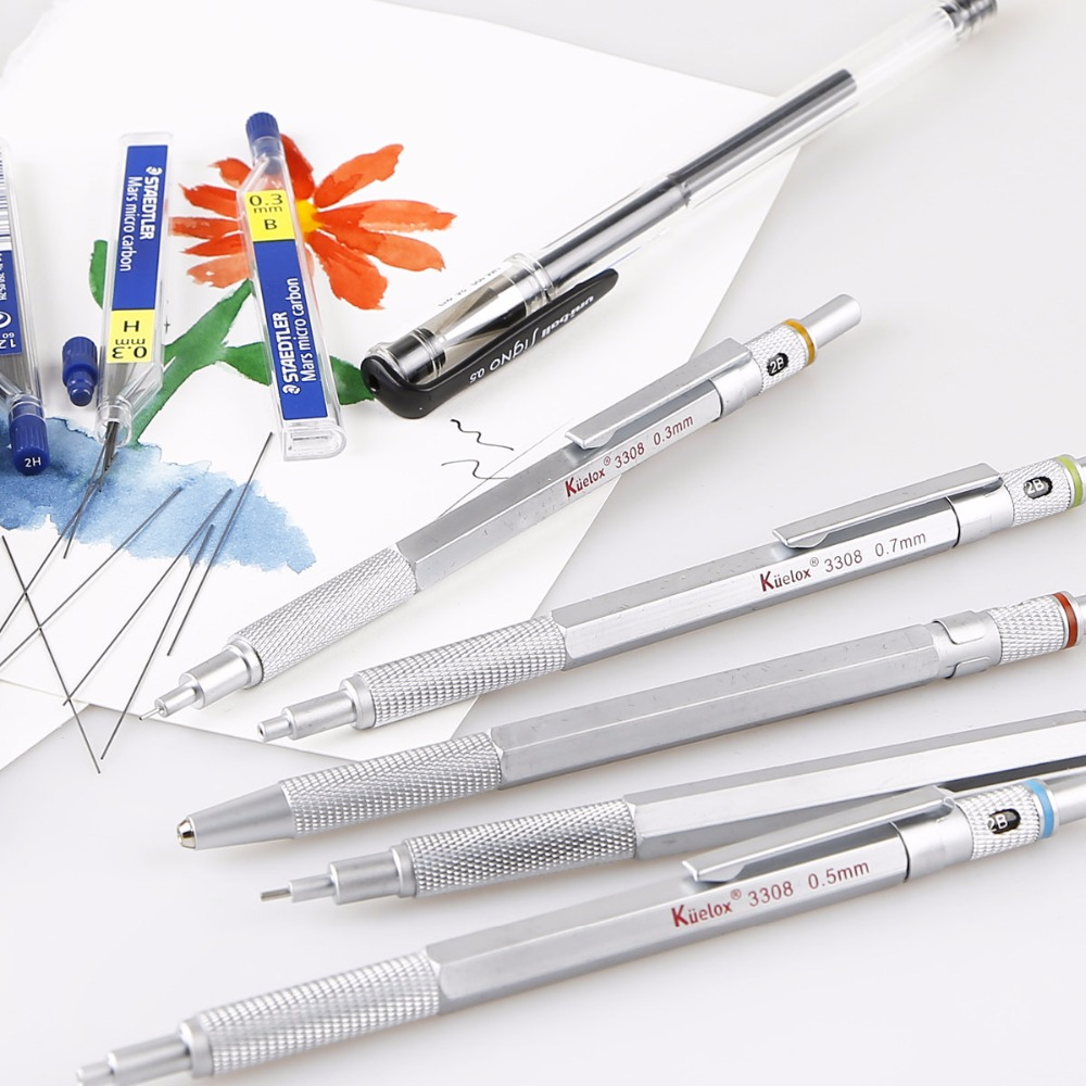 Mechanical Pencil 0.3mm 0.7mm 05mm 0.9mm automatic pencil matte metal High Quality Drafting Mechanical Pencil drafting supplies metal mechanical pencil gift automatic pencil mechanical pencil metal birthday fathers day girlfriend gift