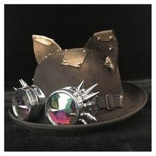 Women Steampunk Bowler Hat Retro Lolita Patch Gear Glasses Topper Top Hats Fedora Headwear Cosplay Cat Ear Billycock Groom Hat