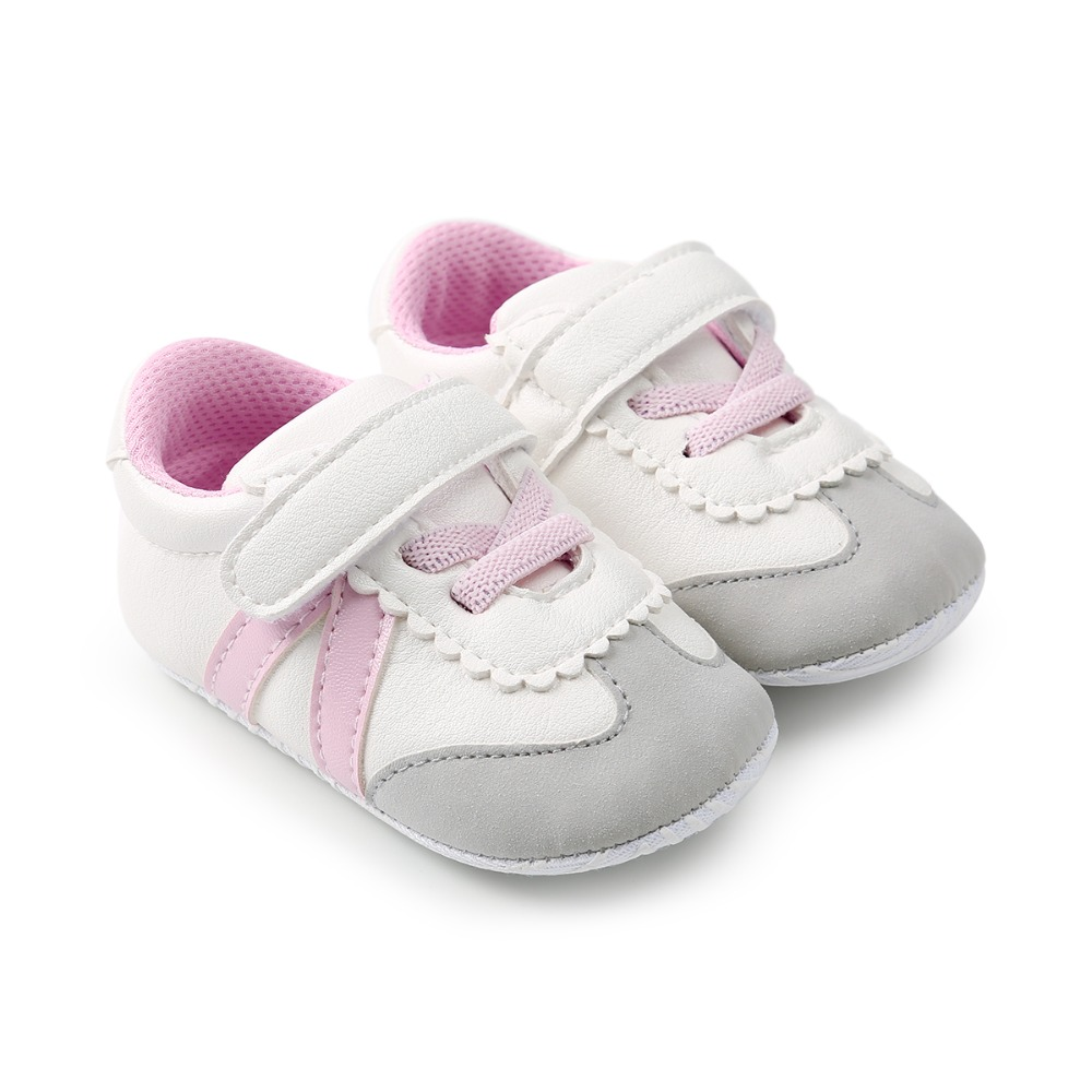 Spring Moccasins Baby Boy Girl Hook & Loop Shoes PU Leather Striped Patch Prewalkers Cotton Soft Sole First Walkers