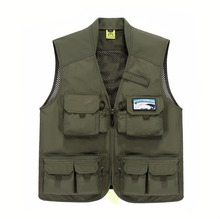 Outdoor men mesh breathable fishing waistcoat multi-pockets plus size sports photographer hiking vest tactical sleeveless jacket