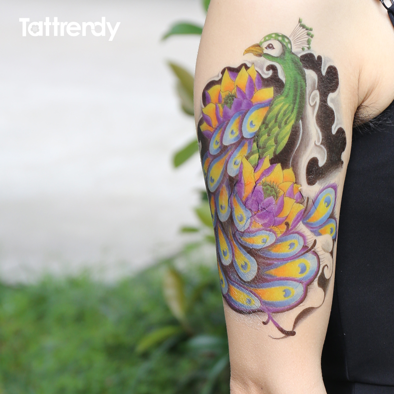 1 Pc Plume De Paon Colore Tatouage Temporaire Etanche Pate Mandala