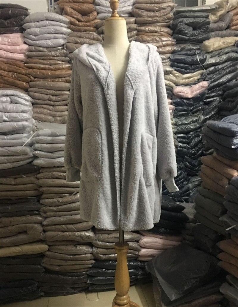 HTB1CWINO4YaK1RjSZFnq6y80pXaF S-5XL Faux Fur Teddy Bear Coat Jacket Women Fashion Open Stitch Winter Hooded Coat Female Long Sleeve Fuzzy Jacket 2018 Hot New