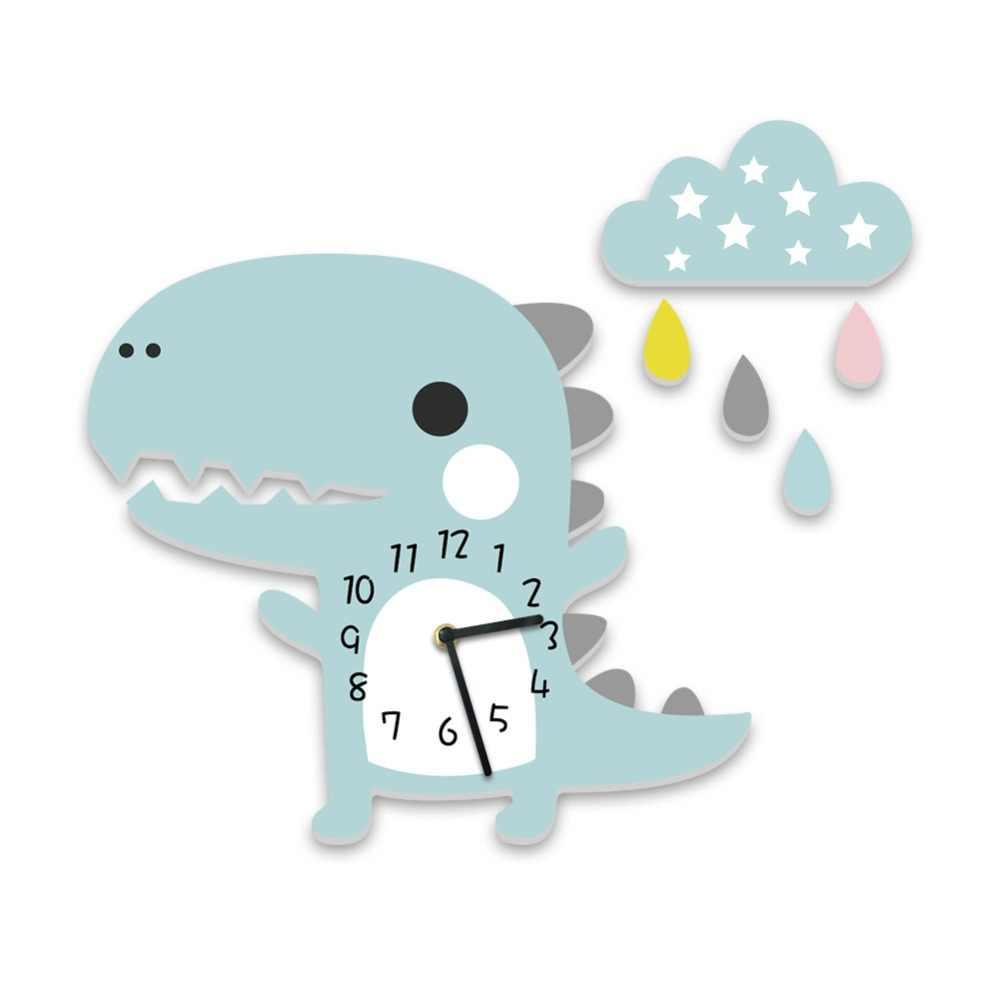 3D часы с динозавром время мультфильм часы с животными для детей Кабинет украшения спальни креативный динозавр 3D наклейки время развивающие игрушки
