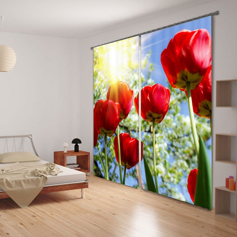 현대 Elegent 패션 로즈 3D 정전 커튼 침구 거실 호텔 커튼 Cortinas 파라 살라
