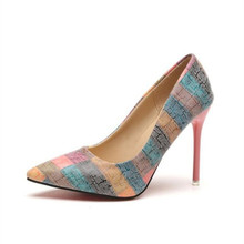 Women's high-heeled shoes summer new thin section with shallow mouth pointed color matching professional wedding women's shoes стоимость