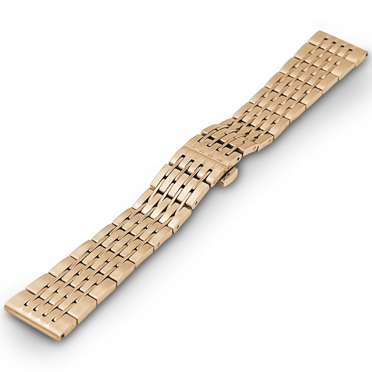 Free Shipping Nine Pearl Solid Stainless Steel Strap High Quality Butterfly Strap fine steel Watch Strap Watch Strap For omega in Watchbands from Watches