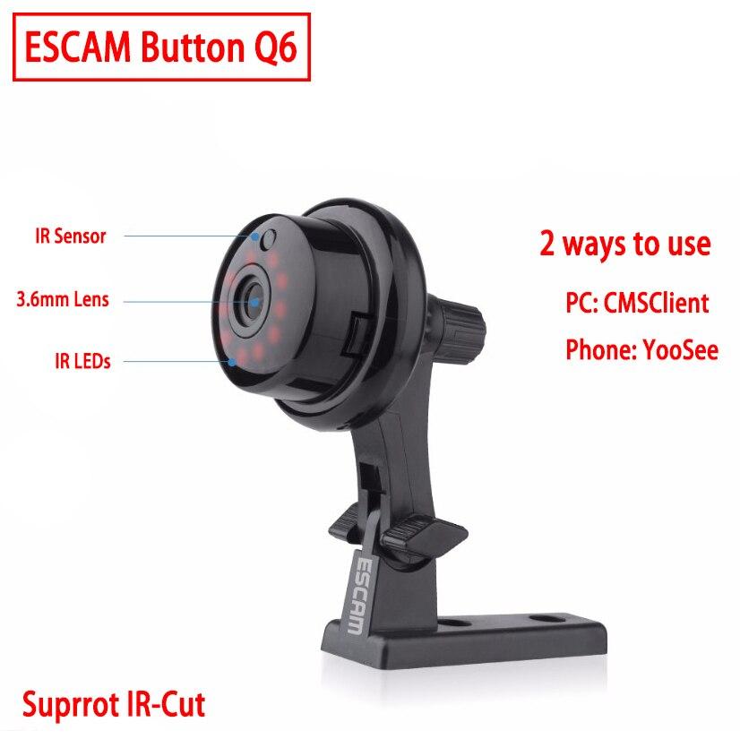 ESCAM Q6 Taste Mini Drahtlose Kamera Wifi zwei-wege-sprach 720 P Indoor Ir-cut-nachtsicht CCTV Home Security IP Kamera Wi-fi