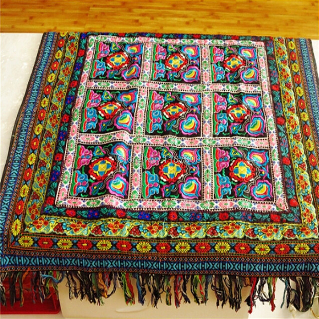 Free Shipping Hmong Embroidery Rectangle Tablecloth Coverhand Woven